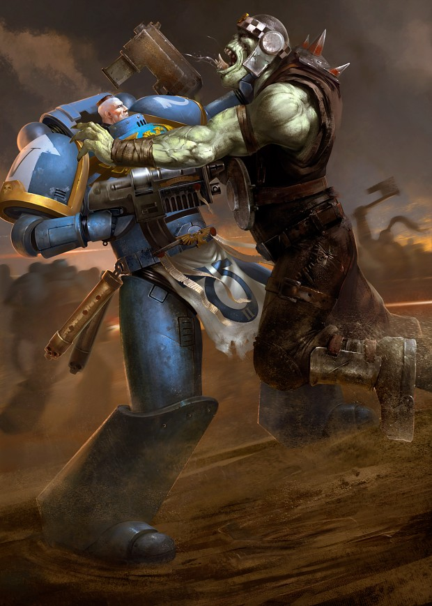warhammer 40k  ultramarine vs ork  by ghostbow d9tjwqi