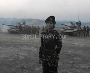 Female Bangladesh Army tank commander .