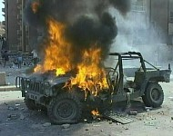 Burning Humvee
