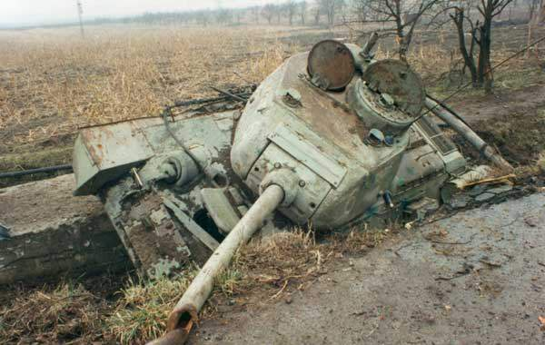 Battle of Vukovar - destroyed tanks and APCs