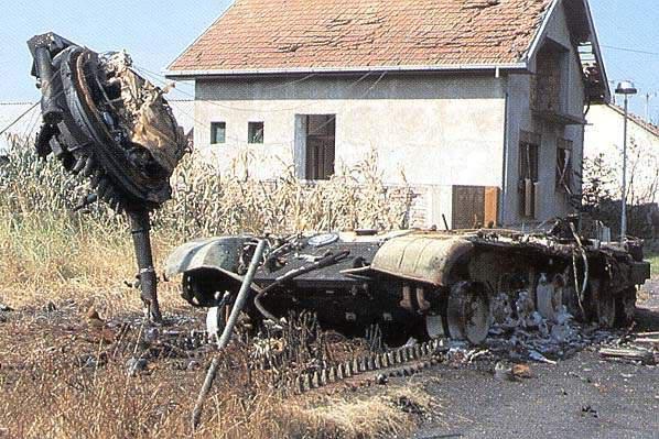 Battle of Vukovar - destroyed tanks and APCs