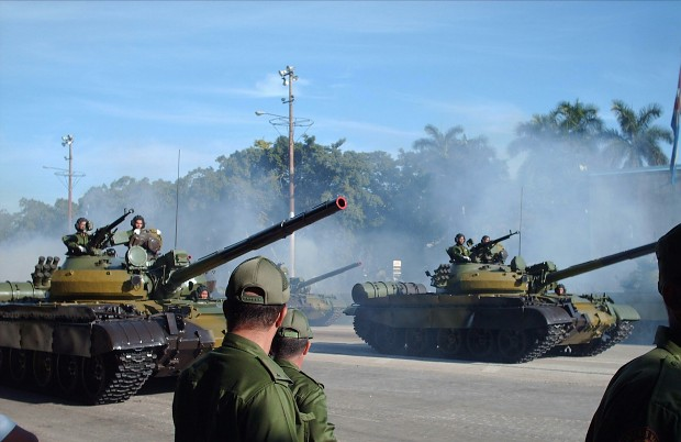 Cuban T-62Ms on parade.