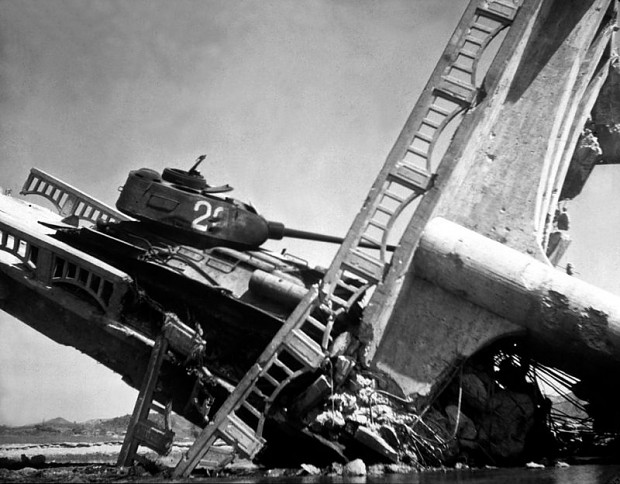 North Korean T-34-85 on a bombed bridge