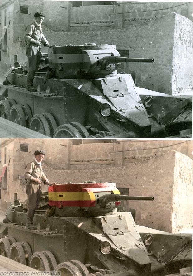 Spanish nationalist soldier standing on a captured republican BT-5/7.