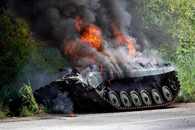 Burning BMP-1