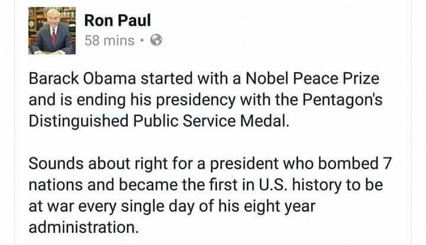 Ron Paul's thoughts on the outgoing administration.