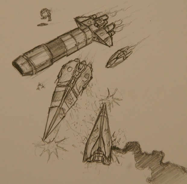 space combat scene