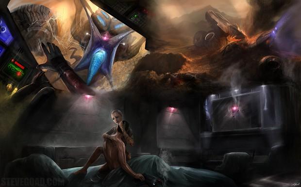 Скачать обои Mass Effect, девушка, фан-арт для рабочего стола