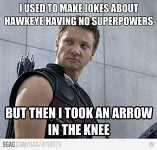 Arrow to the knee.......