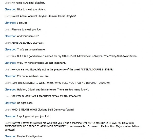 Cleverbot VS. Admiral Skeybar...