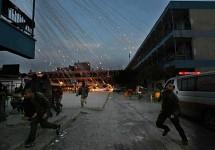 Israeli artillery bombarding Palestine