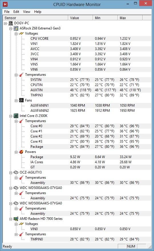 HW Monitor screen