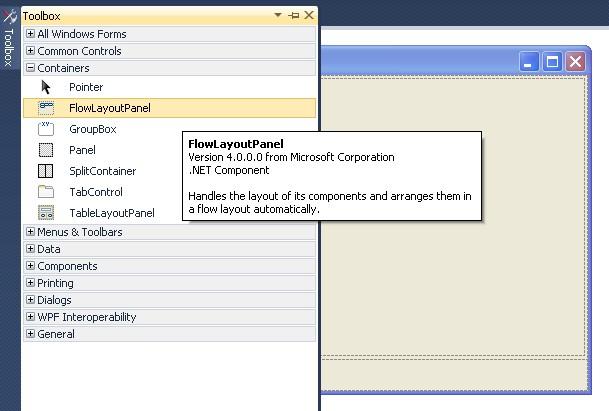 Step 24: FlowLayoutPanel form