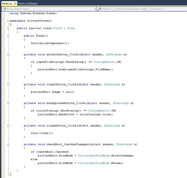 Step 35: Form1.cs, the whole code