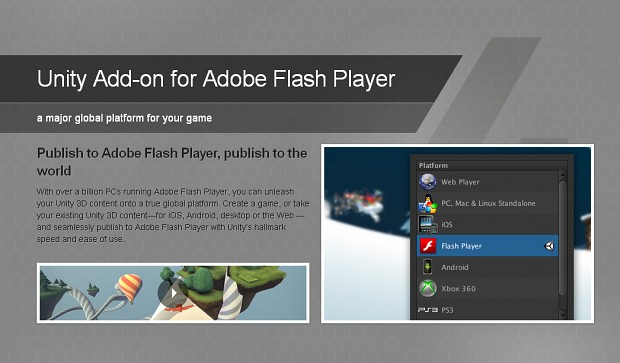 Unity 4 add-on for Adobe Flash Player