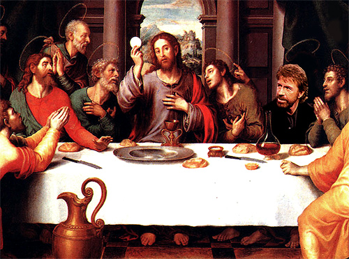 Chuck Norris' first supper.