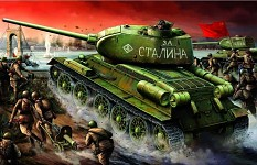 Red Army with T-34s and Maxims, painting