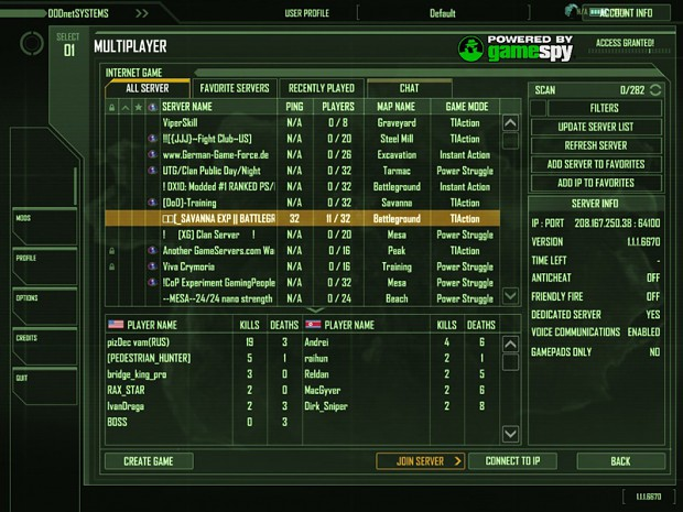 Crysis Wars - in-game lobby
