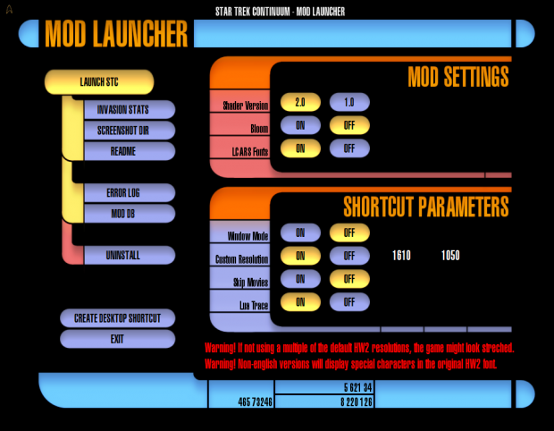 Mod launcher LCARS interface