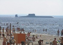 Beach with a view forn an sub marine. Russia!