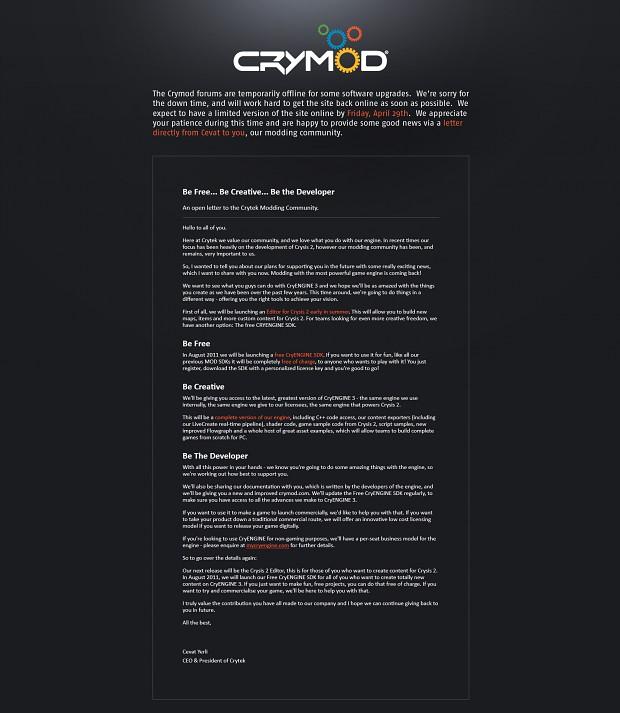 An open letter to the Crytek Modding Community