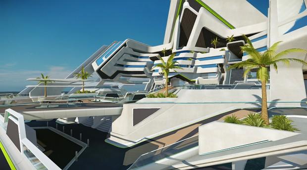 Sci-fi residential (WIP) -  by EzMeow