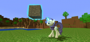Rarity playing Minecraft