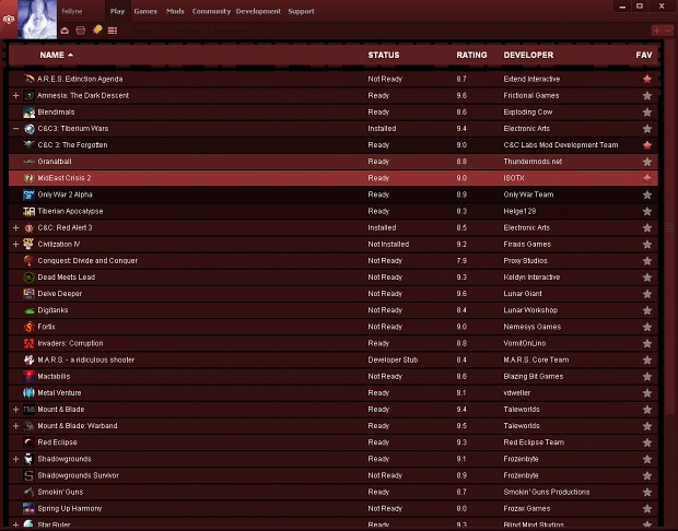 Desura red theme - playlist/gamelist
