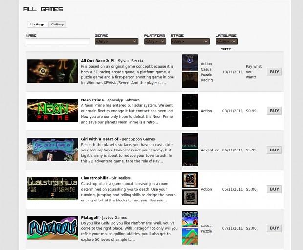 Games - listings