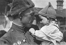 Soviet soldier and Czech baby