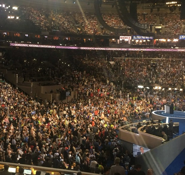 """DNC shuts off lights over the people chanting """"No More War!"""""""