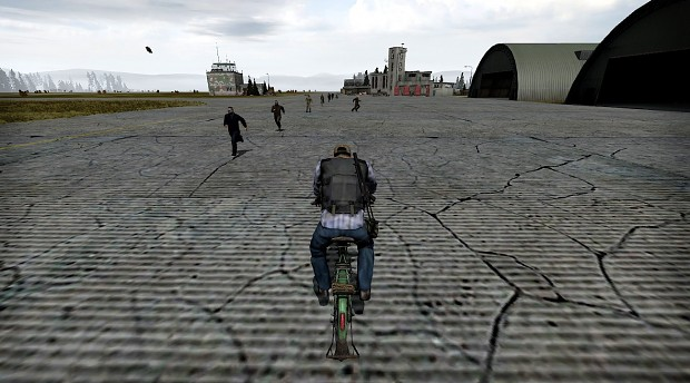 Biking at the north-west airfield