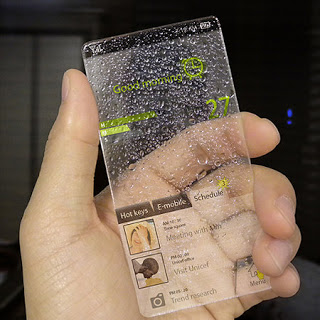 glass phone concept if rains drops if sun transpar