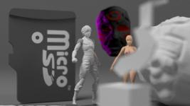 1:1 microSD card and 1:144 figure