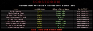 Wad Hi Scores, and Doom Ep1 Level Hi Scores