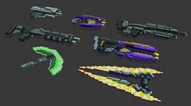 Sci fi Voxel Weapons