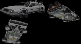 BTTF2 DeLorean and BTTF3 DeLorean