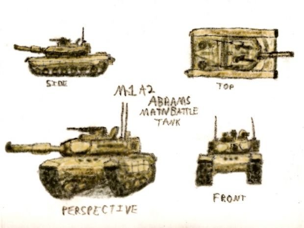 M1A2 Abrams Tank Drawing.