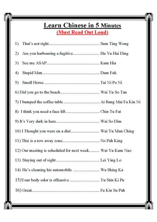 Learn Chinese real quick!