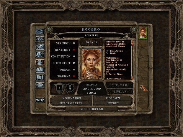 Baldur's Gate Trilogy: character sheet / record