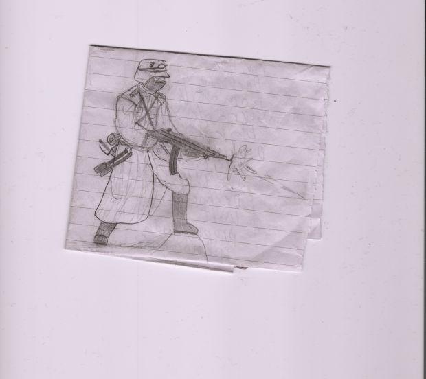 Wehrmacht soldier weilding STG 44