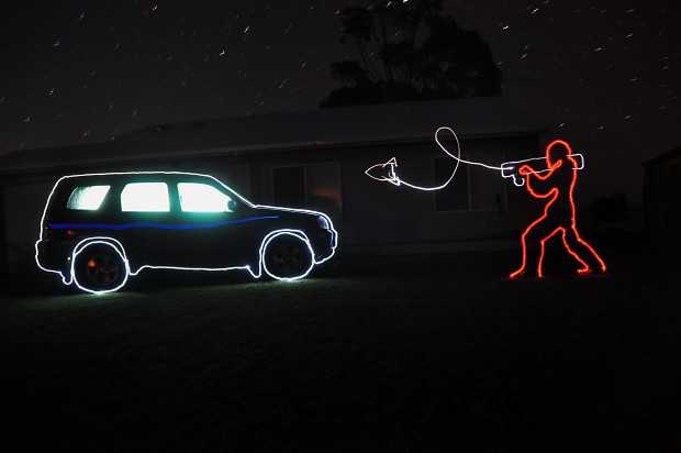 Rocket vs Car: Light Painting Fun!