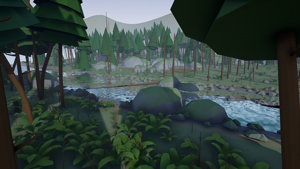 Stylized Low Poly Pine Forest