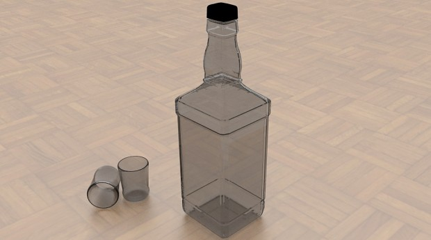 Bottle and Shot Glasses