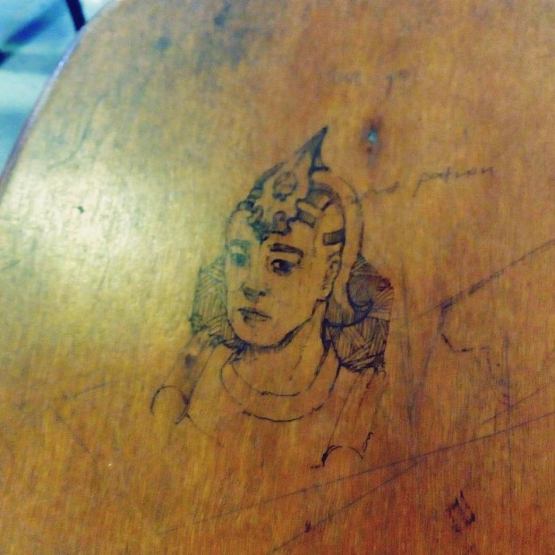 (Relatively) High-level desk doodle at my art college