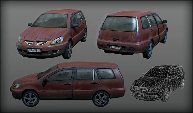 abandoned modern car
