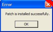 Error: Patch sucessfully installed.