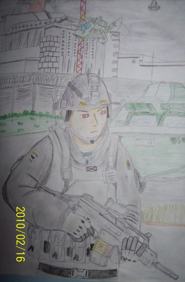 Soldier near Chernobyl