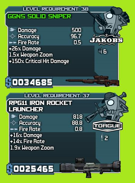 Borderlands weapons