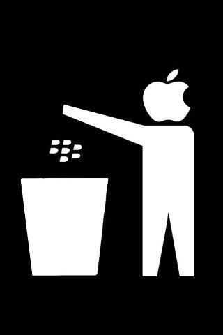 Apple throwing the Blackberry into garbage !!